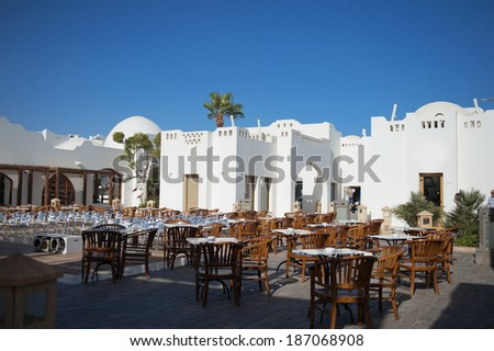 summer terrace cafe in the Egyptian hotel - stock photo