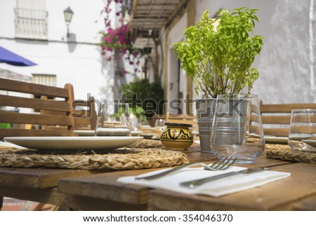 summer terrace with drinks and meals ready to eat, Marbella Spain - stock photo