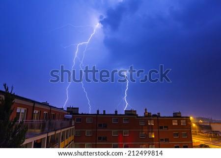Summer thunderstorm at night, Poland - stock photo