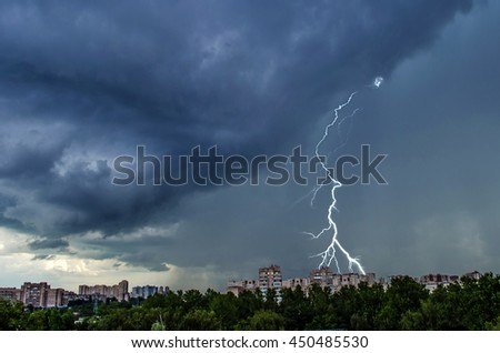 Summer thunderstorm over the city of St. Petersburg - stock photo