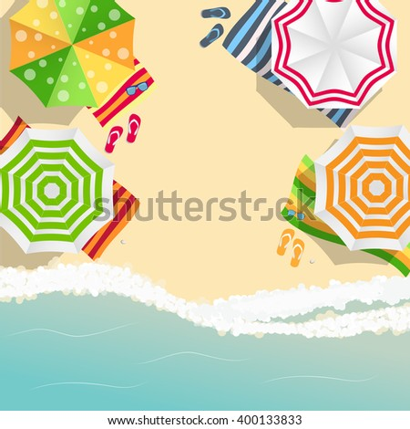 Summer Time Background. Sunny Beach in Flat Design Style Illustration