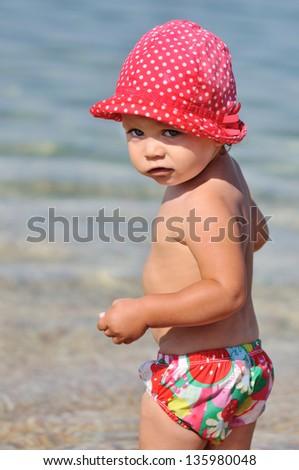 summer time for toddler girl - stock photo