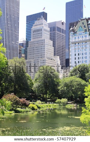 Summer Time in Central Park and Manhattan Skyline, New York City - stock photo