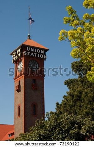 Summer Time in the City Tree Foliage Union Station Clock Tower Portland Oregon Northwest United States - stock photo
