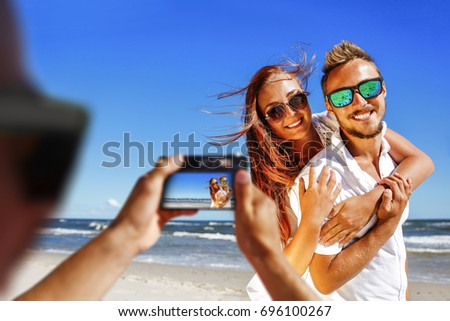 summer time on beach and camera