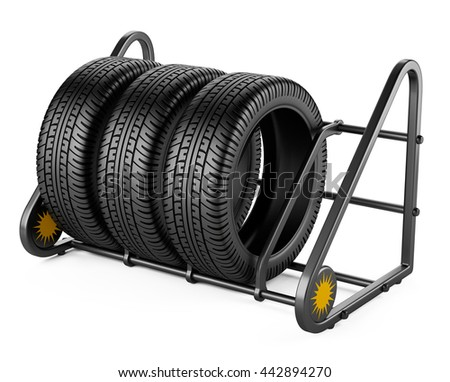 Summer tires set for sale at a tire store. 3d image isolated on a white background.