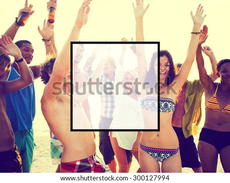 Summer Togetherness Friendship Square Copy Space Concept - stock photo