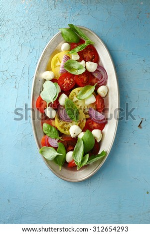 summer tomatoes salad, above