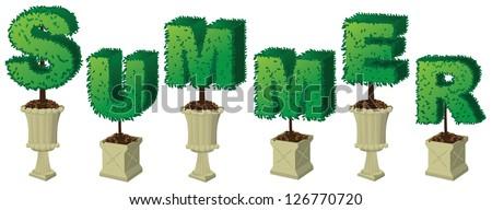 Summer Topiary Word JPG - stock photo