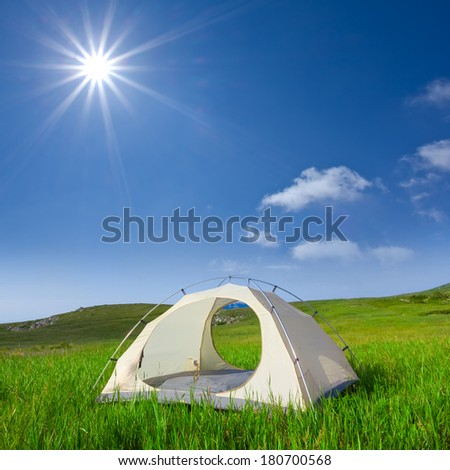 summer touristic camp - stock photo