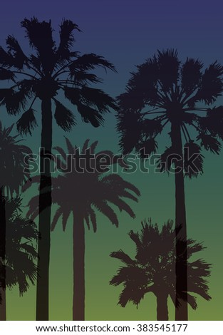 Summer Travel Background with Palms .  Nature Landscape. Exotic Print for T-shirt.