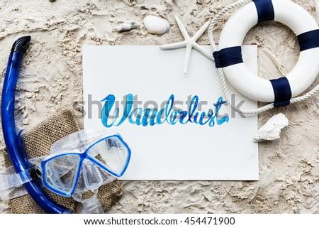 Summer Travel Trip Vacation Wanderlust Beach Concept - stock photo