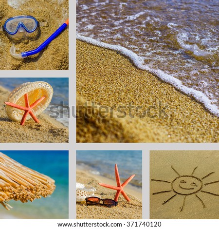 Summer Travel Vacation, Collage of different beach scene. - stock photo
