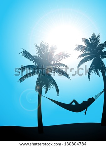Summer Tropical Background with Woman Sunbathing in a Hammock hung between two Palm Trees