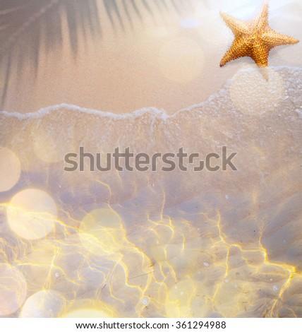 Summer tropical beach background; beach travel - stock photo