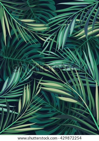 Summer tropical hawaiian background with palm tree leaves and exotic plants, summer poster - stock photo