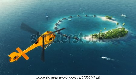 Summer tropical island. Small helicopter flying to private paradise tropical island with wind turbines energy and bungalows. 3D rendering illustration - stock photo