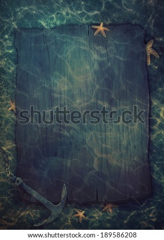 Summer underwater background. Old wood with copy space. Summer sea and ocean background - stock photo