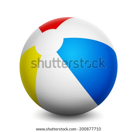 Summer vacation and holidays concept with a colorful beach ball isolated on white background 3d rendering.
