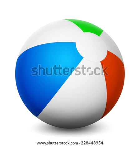 Summer vacation and holidays concept with a colorful beach balloon isolated on white background 3d rendering.
