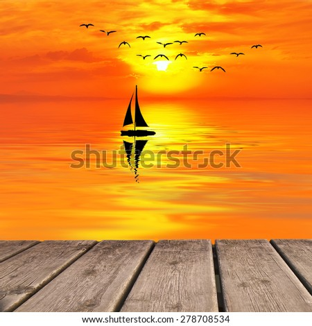 summer vacation at sea - stock photo