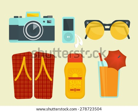 Summer vacation attributes. Illustration of camera, sunglasses, sunscreen and cocktail - stock photo