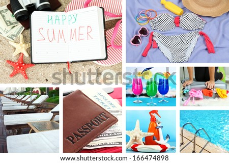 Summer vacation collage - stock photo