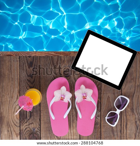 Summer vacation.  Empty plate and beach accessories. Pink sandals by swimming pool. Blue sea surface with waves, texture water. Flat mock up for design. - stock photo
