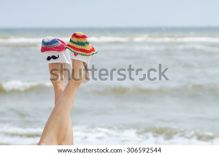 Summer vacation on sunny beach concept in early morning - stock photo
