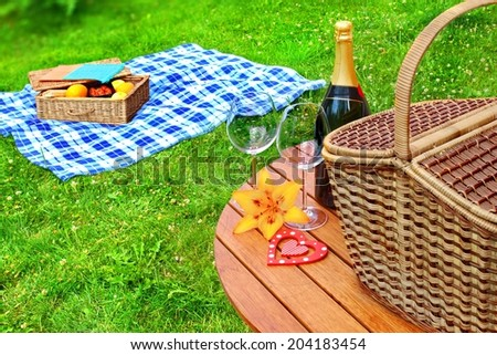 Summer Vacation Picnic Scene with copy space. - stock photo