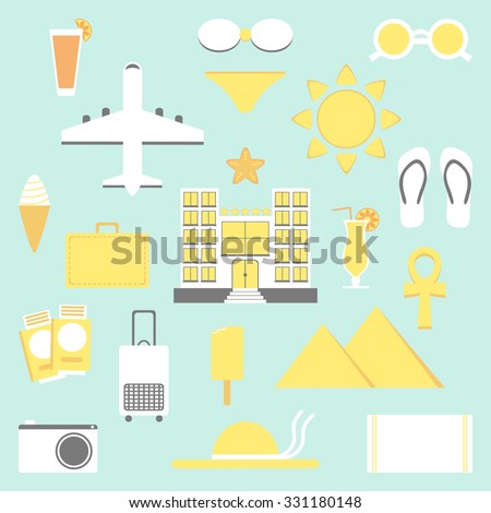 Summer vacation set. Vacation isolated elements. Hotel, plane, ice cream, bags, bikini and other icons. Flat style illustration.