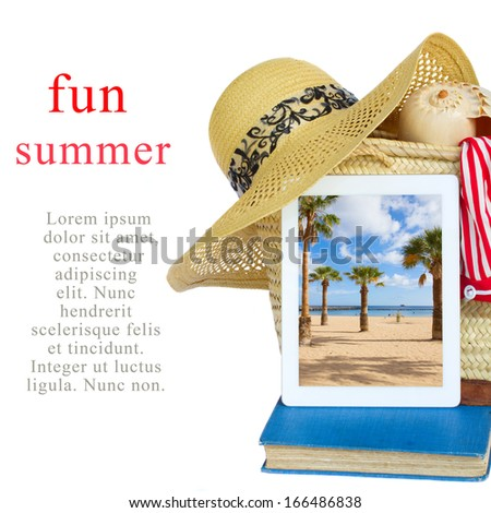 summer vacations concept sunbathing accessories with tablet - stock photo