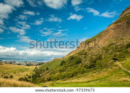Summer view from mountain to Edinburgh Leith Docks - stock photo