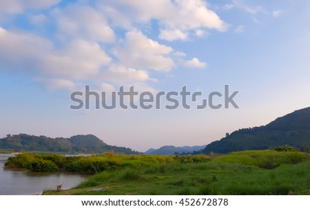 summer view landscape of Mekhong River at Nong Khai province in northeastern  of Thailand