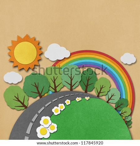 Summer view made from recycled paper background. - stock photo