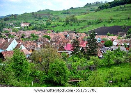 Summer view of an typical village in Transylvania, Romania