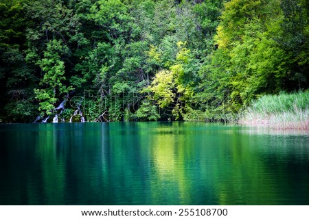 Summer view of beautiful waterfalls in Plitvice Lakes National Park, Croatia - stock photo