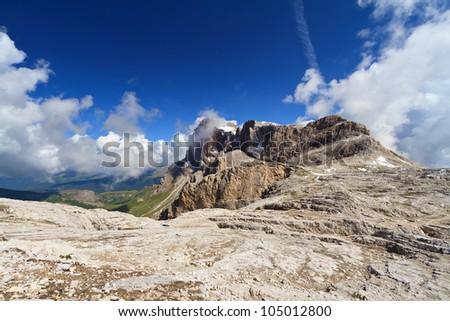 summer view of Cimon della Pala peak, Pale di San Martino group, Trentino, Italy - stock photo