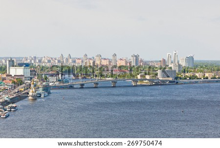 Summer view of Dnipro river and Kyiv city, Ukraine