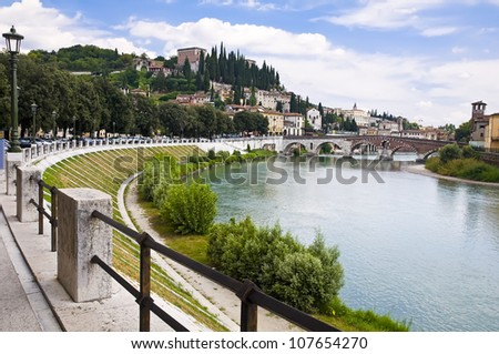 Summer view of the Adige River Embankment in Verona, Italy - stock photo