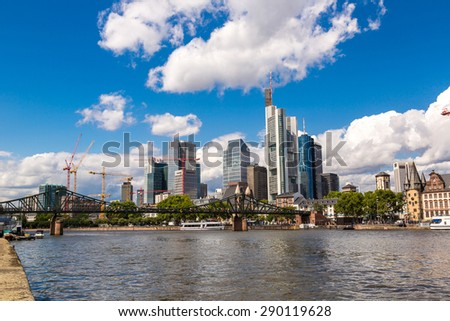 Summer view of the financial district in Frankfurt, Germany - stock photo