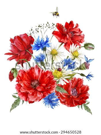 Summer Vintage Watercolor Greeting Card with Blooming Red Poppies Chamomile Ladybird and Daisies Cornflowers Bumblebee Bee and Blue Butterflies on White Background, Watercolor illustration. - stock photo