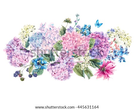 Summer Watercolor Vintage Floral bouquet with Blooming Hydrangea and garden flowers, Watercolor botanical natural hydrangea Illustration isolated on white  - stock photo