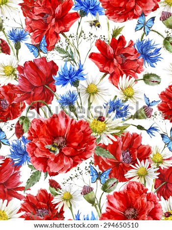 Summer Watercolor Vintage Floral Seamless Pattern with Blooming Red Poppies Chamomile Ladybird and Daisies Cornflowers Bumblebee Bee and Blue Butterflies, Watercolor illustration on white background. - stock photo