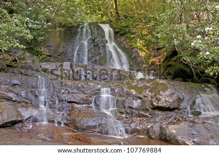 Summer waterfall surrounded by rhododendron - stock photo