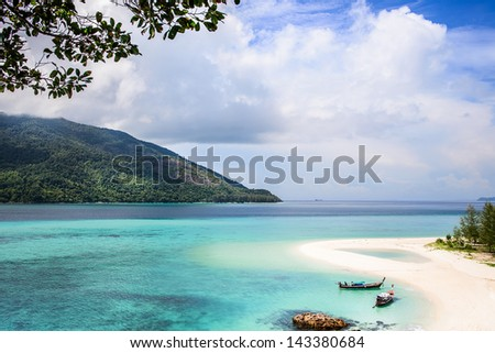 Summer, white beach and blue sea, Beautiful Island Beach,Luxury Place Hotel & Resort, Vacation and Tourism concept life is beautiful, Travel, Relax, Thailand