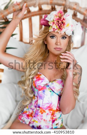 Summer woman. Dressed in a bathing suit - stock photo