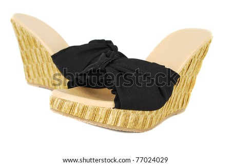 Summer  woman  modern shoes isolated on the white background.