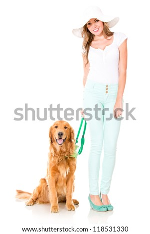 Summer woman with a cute dog - isolated over a white background - stock photo