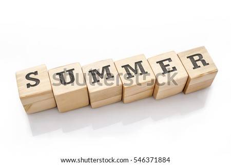 SUMMER word made with building blocks isolated on white